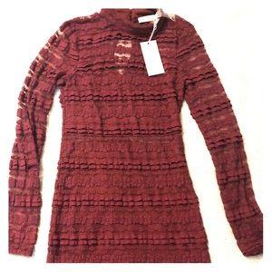 Reece burgundy lace long sleeved mini dress